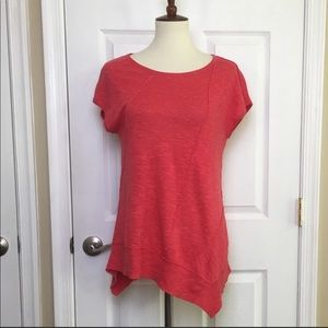 Eileen Fisher Red Asymmetric Short Sleeved Tunic